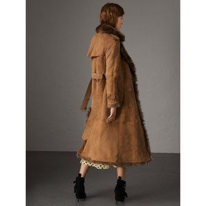 Burberry tan Tolladine shearling coat size 2